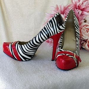 Zebra Print Heels with Red and Brown Details